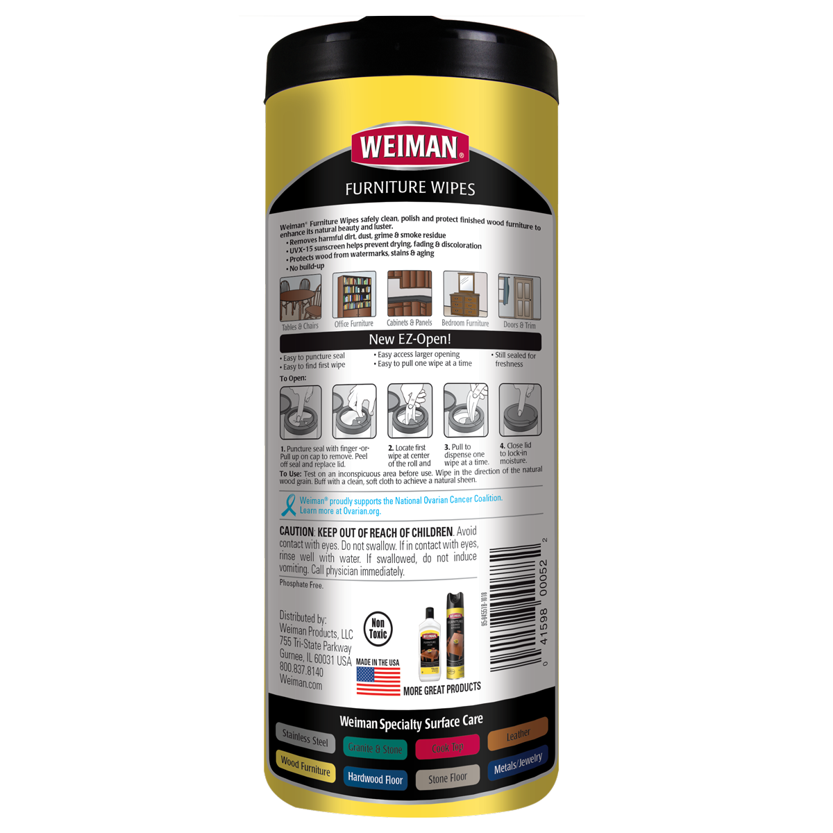 Weiman Furniture Cleaning Wipes back label